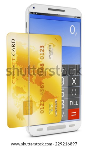 Conceptual view about checkouts or payments over Internet and mobile devices. - stock photo