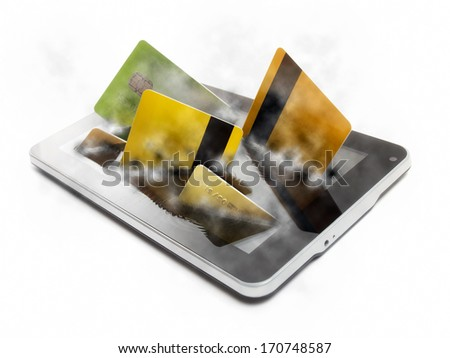 Conceptual view of payments or commercial activity over the Internet and mobile devices. - stock photo
