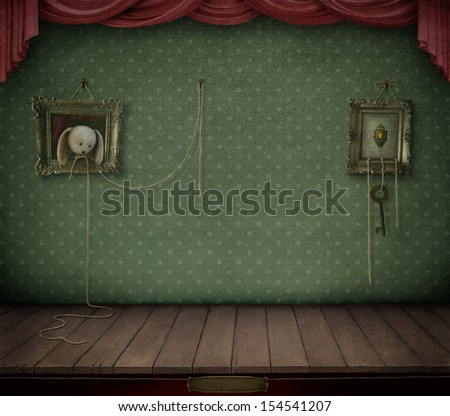 Conceptual vintage background with frame and toys.  - stock photo