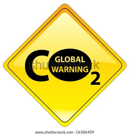 conceptual warning sign - global warning 4/7 - stock photo