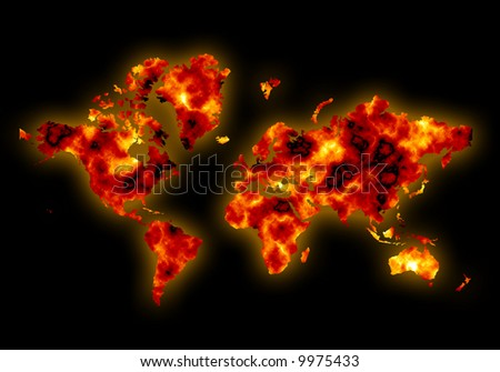Conceptual world map burning and overheating showing effects of global warming and climate change with diffuse glow - stock photo