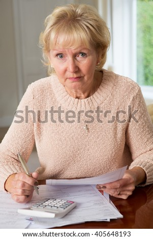Concerned Senior Woman Reviewing Domestic Finances - stock photo