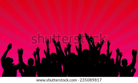 concert crowd with light rays  - stock photo
