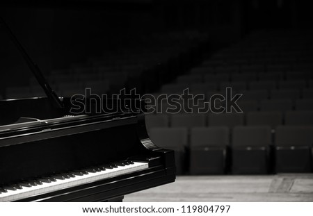 Concert grand piano, view from stage - stock photo