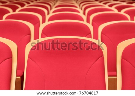 Concert Hall red chairs,Empty hall - stock photo