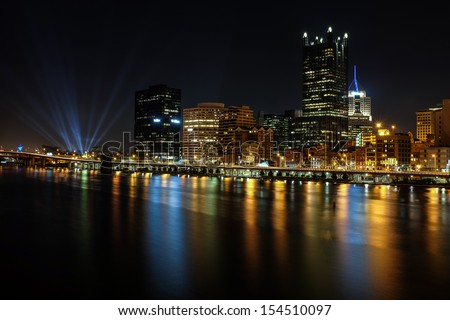 Concert lights shinning in Pittsburgh - stock photo