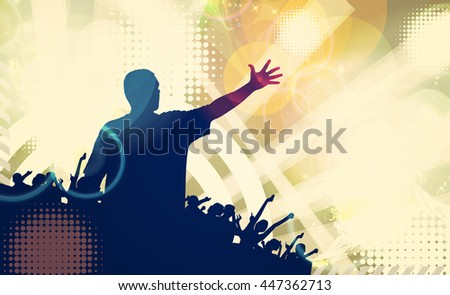 Concert. People with hands up having fun. Vintage style illustration - stock photo
