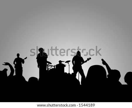 Concert silhouette with crowd cheering and rocking out. - stock photo