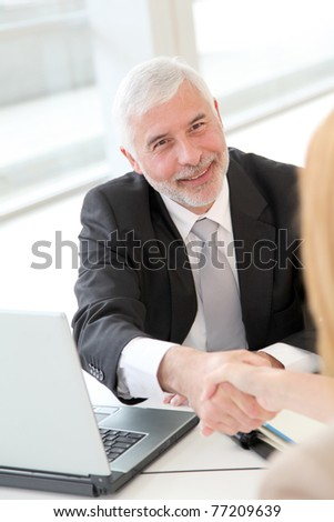 Conclusion of job interview - stock photo