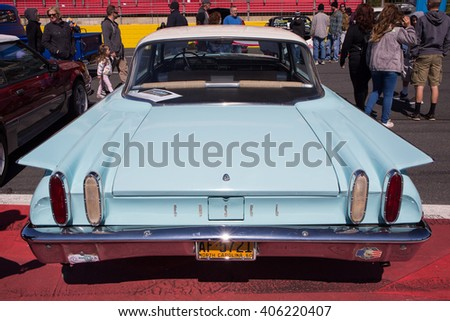 CONCORD, NC - APRIL 8, 2016:  A 1960 Edsel automobile on display at the Pennzoil AutoFair classic car show held at Charlotte Motor Speedway. - stock photo