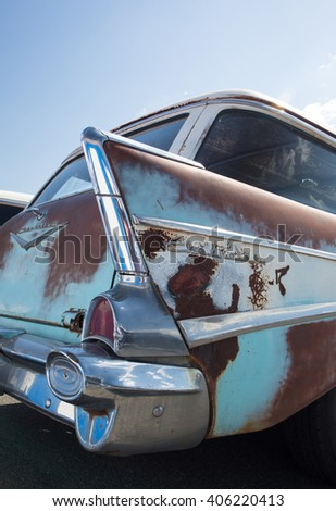 CONCORD, NC - APRIL 8, 2016:  An unrestored 1957 Chevrolet station wagon on display at the Pennzoil AutoFair classic car show held at Charlotte Motor Speedway. - stock photo