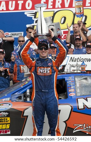 CONCORD, NC - MAY 29:  Kyle Busch wins the Tech-Net Auto Service 300 race at the Charlotte Motor Speedway in Concord, NC on May 29, 2010 - stock photo