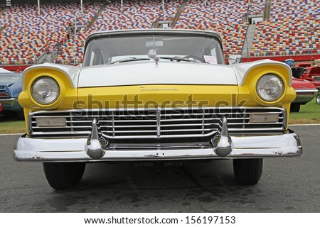 CONCORD, NC - SEPTEMBER 21:  A 1957 Ford Fairlane on display at the Charlotte Auto Fair classic car show at Charlotte Motor Speedway in Concord, North Carolina, September 21, 2013. - stock photo