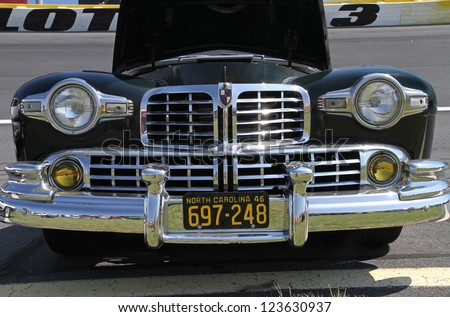 CONCORD, NC - SEPTEMBER 22:  A 1946 Lincoln automobile on display at the Charlotte AutoFair classic car show at Charlotte Motor Speedway in Concord, North Carolina, September 22, 2012. - stock photo