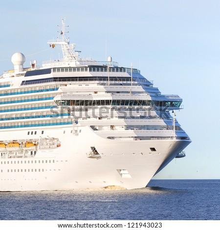 Concordia-class cruise liner entering the port of Riga - stock photo