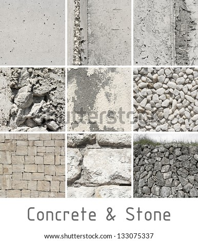 Concrete and stone set texture or background - stock photo