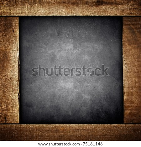 concrete background with wooden frame - stock photo