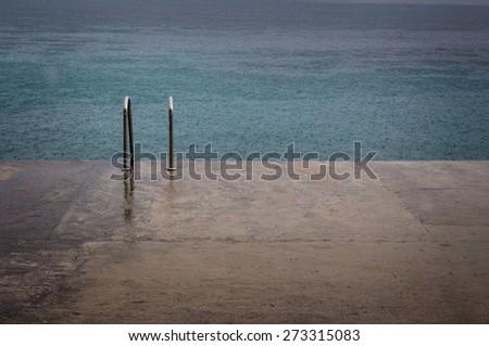 concrete beach  - stock photo