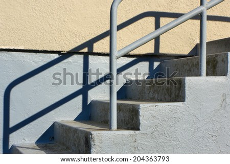 Concrete beige and gray Outdoor Staircase - stock photo