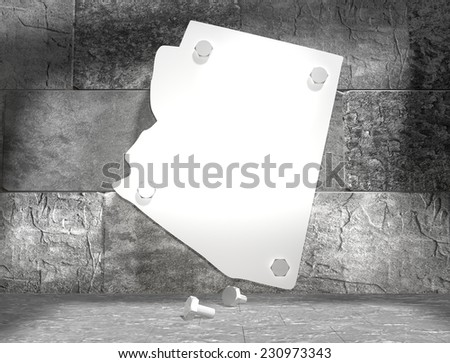 concrete blocks empty room with clear outline arizona state map attached to wall by bolts - stock photo
