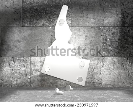 concrete blocks empty room with clear outline idaho state map attached to wall by bolts - stock photo