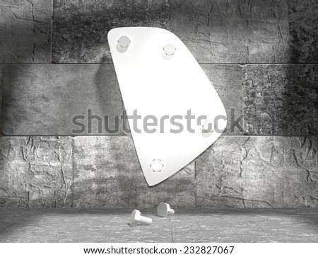 concrete blocks empty room with clear outline rhode island state map attached to wall by bolts - stock photo