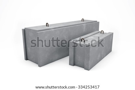 Concrete blocks for construction isolated on white with clipping path - stock photo