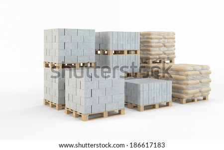 Concrete blocks isolated on white background - stock photo