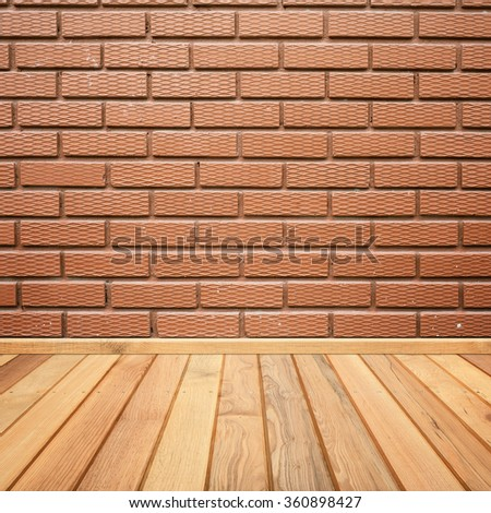 Concrete brick walls and wood floor for text and background.Copy Space - stock photo