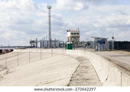 Concrete Dam of hydroelectric power station - stock photo