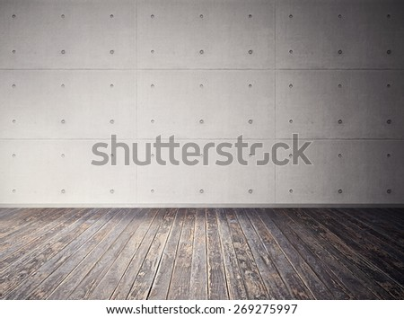concrete empty room with old wooden floor - stock photo