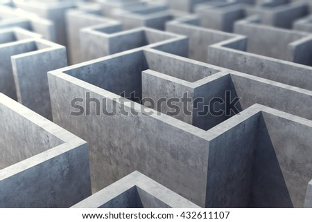 Concrete gray labyrinth, solving concept. 3d illustration - stock photo