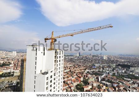 Concrete Highrise Construction Site - stock photo