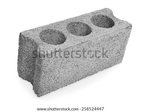 Concrete hollow block construction on a white background  - stock photo