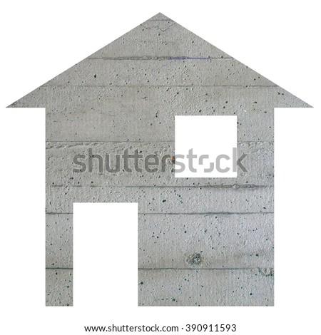 Concrete house 2d model illustration isolated over white - stock photo