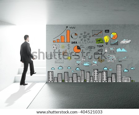 Concrete interior design with stairs, businessman and charts on wall. 3D Rendering - stock photo