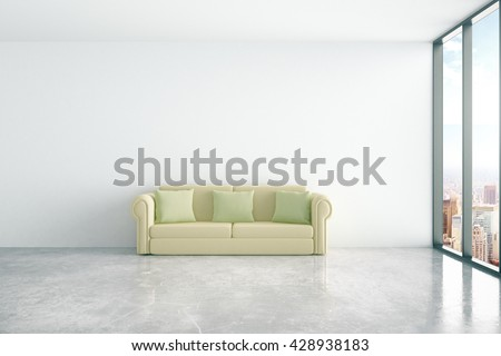 Concrete interior with comfortable green couch and window with city view. 3D Rendering - stock photo