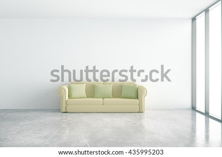 Concrete interior with comfortable green couch and window with daylight. 3D Rendering - stock photo