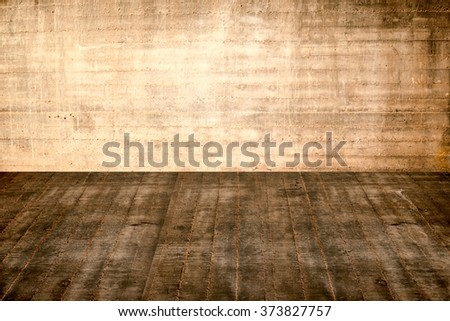 concrete is not a flat floor and plastered concrete part of the interior in an abandoned house - stock photo