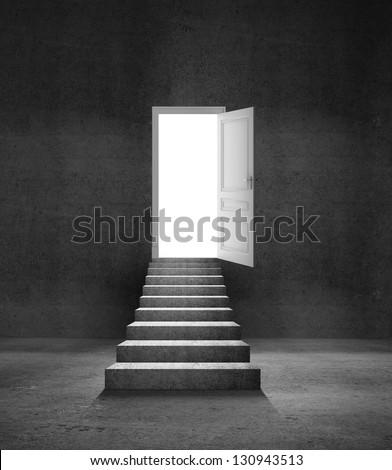 concrete ladder and opened door - stock photo