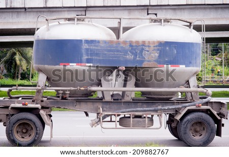 Concrete mixer truck at a construction site,Concrete car - stock photo