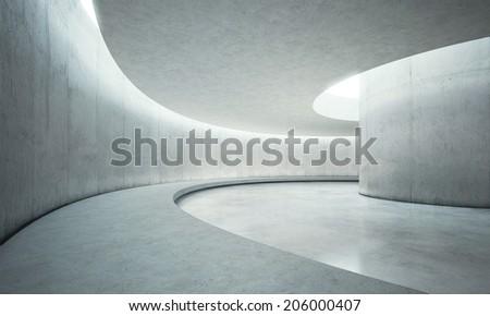 Concrete open space interior - stock photo
