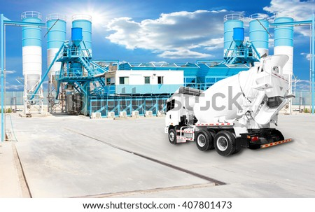 Concrete plant and A Cement Delivery Lorry - stock photo