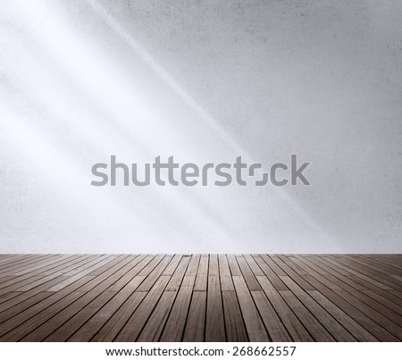 Concrete Room Corner Shadow Sunlight Wallpaper Concept - stock photo