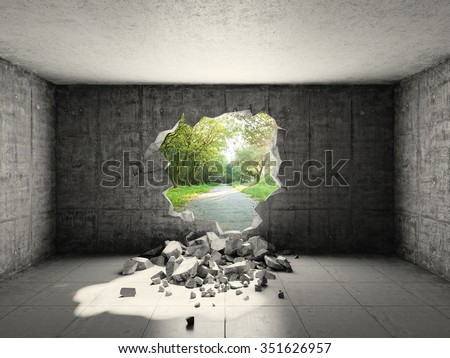 Concrete room with hole in wall and exit to freedom. 3d rendering. - stock photo