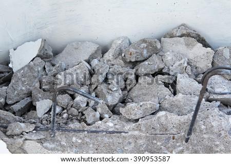 Concrete rubble debris on construction site. - stock photo