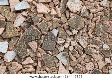 Concrete rubble debris on construction site for background - stock photo