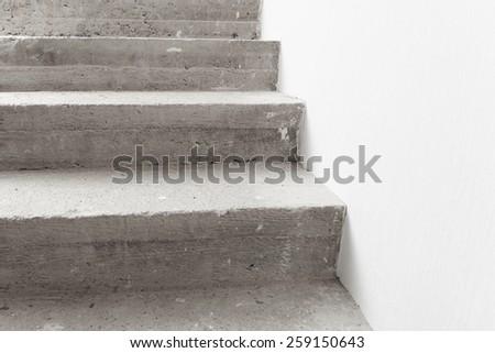 concrete staircase under construction - stock photo