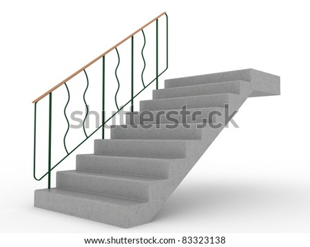Concrete stairs with green railings  - stock photo