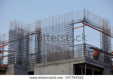 Concrete steel reinforcement of another floor - stock photo